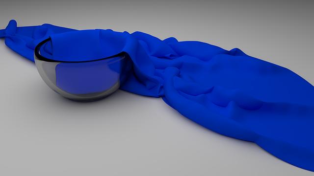 modrá organza